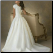 Modest Short Sleeved Satin and Organza Wedding Gown with Lace, showing back of gown