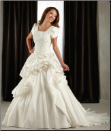 Modest Short Sleeved Taffeta and Organza Wedding Gown with Lace