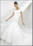 Modest Taffeta and Organza Wedding Dress
