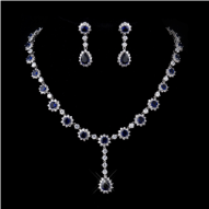 Lady Diana Sapphire and Crystal Necklace and Earrings