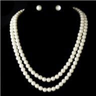 Duchess of Beaufort Double Strand Pearl Necklace and Earring Set