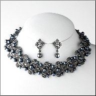 Lady Beatrice Hematite-Grey Pearl Necklace & Earrings Set