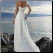 Chiffon Beach Wedding Dress, showing back of gown, lace up back and train