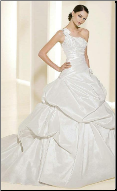 One-Shoulder Taffeta Wedding Gown