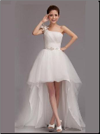 Organza High-Low One-Shoulder Wedding Dress