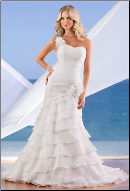 Organza and Satin Fit and Flare One-Shoulder Wedding Gown