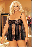 Playful Plus Size Net and Lace Baby-doll Set