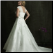 Plus Size Satin Empire Line Wedding Gown showing back of gown and elegant train