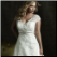Plus Size Satin Empire Line Wedding Gown - close-up of bodice