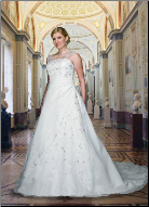 Plus Size Satin and Organza Wedding Gown