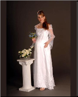 Pretty Long Sleeved Embroidered Organza Maternity Bridal Gown