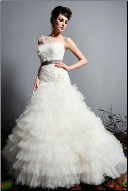 Princess Floor Length Strapless Tulle