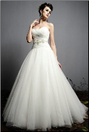 Princess Strapless Tulle Wedding Dress