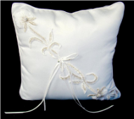 White Lily Bridal Ring Bearers Pillow