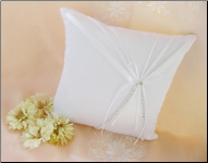 Bridal Pillow Accented with Rhinestones and Ribbon