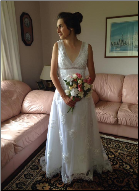 White Beaded Wedding Gown with Lace-up Back in stock size 6