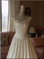 Dreamy Romantic Off-the-Shoulder Satin Bridal Gown for rent - size 12
