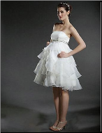 A-Line Strapless Short Maternity Wedding Dress