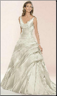Satin Brocade Wedding Gown with Lace
