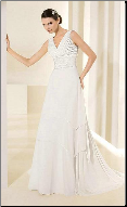 Satin and Chiffon Empire Line Wedding Dress