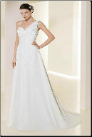Satin and Chiffon One Shoulder Wedding Gown