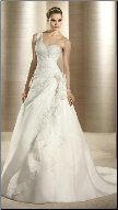 Satin and Organza One-Shoulder Wedding Gown