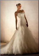 Satin and Tulle Fit-and-Flare Wedding Gown