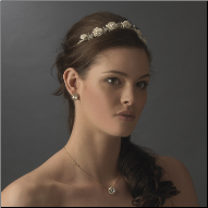 Serena Rose and Crystal Wedding Headpiece