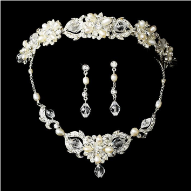 Grand Duchess Marie Crystal and Pearl Tiara Set