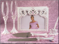 Pretty Pink Princess Guest Book Pen Flute and Cake Server Set