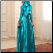 Shimmering Satin Long Sleeve Gown with Hijab for Muslim Bride showing back of gown