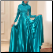 Shimmering Satin Long Sleeve Gown with Hijab for Muslim Bride showing full skirt