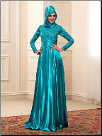 Shimmering Satin Long Sleeve Gown with Hijab for Muslim Bride