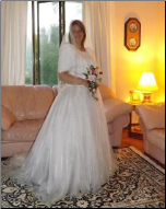 Short Sleeves Satin and Organza Alfred Sung Wedding Gown size 18