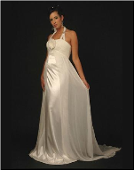 Simple Elegance Halter Neckline Maternity Gown for Bride