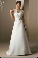 Simple Elegant Satin and Lace Wedding Dress