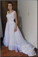 Simple Satin and Organza Wedding Ballgown in stock size 12