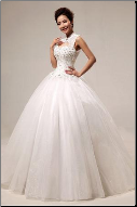 Sleeveless Mandarin Collar Satin and Organza Wedding Dress