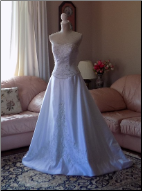 Strapless Embroidered Satin Wedding Gown in stock size 10