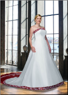 Plus Size Embroidered Satin Wedding Dress