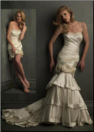 Strapless Taffeta Fit and Flare Convertible Wedding Dress