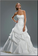 Strapless Taffeta with Lace Wedding Gown