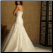 Strapless Tulle over Satin Sweetheart Neckline Fit and Flare Gown - back of gown and train