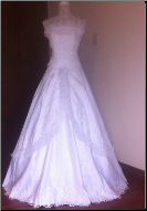 Strapless White Wedding Gown with Sequins and Ruffles in stock size 10