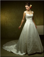 Embroidered Satin Bridal Gown