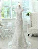Stylish Column Style Mandarin Collar Lace Wedding Gown