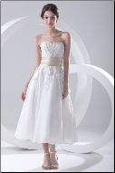 Sweetheart Chiffon Tea Length Wedding Dress