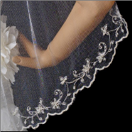 Lancashire Embroidered Fingertip Veil