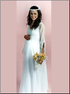 V-Neckline Organza Empire Style Maternity Wedding Gown