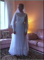 Vintage Victorian-look Wedding Gown in stock size 8